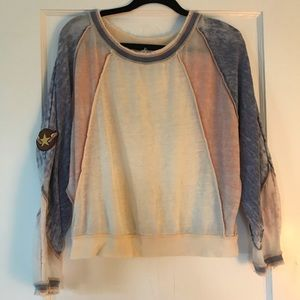Free People distressed light sweatshirt with patch